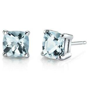 1.46 ct Cushion Cut Blue Aquamarine Stud Earrings in 14K White Gold