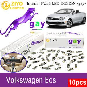 10 Bulbs Deluxe Xenon White LED Interior Dome Light Kit For Volkswagen EOS