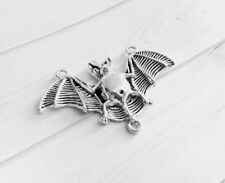 Large Bat Pendant Connector Antiqued Silver Halloween Link Charm 47mm
