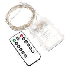 10M 100 LEDs Silver String Fairy Xmas Strip Light AA Battery + Remote Contr D4E4