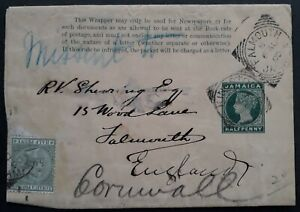 "VERY RARE 1890 Jamaica 1/2d Stamped Wrapper uprated 1/2d to Falmouth ""MISSENT"""
