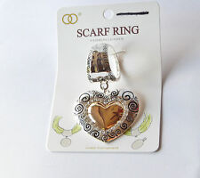 NWT SILVER HAMMERED SCARF RING-2 TONED GOLD, SILVER & RHINESTONE HEART PENDANT