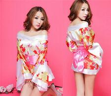 White Cosplay Japanese Kimono Pajamas Women's Sexy Lingerie Set Dress SL011
