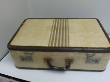 Vintage Lacquer Fiber Tweed Striped Suitcase,TV Prop from Mr. T (Toledo)  1960s
