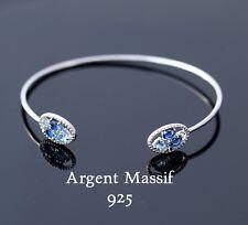 Bracelet pour femme jonc en argent massif 925 et rhodié avec pierres bleues neuf