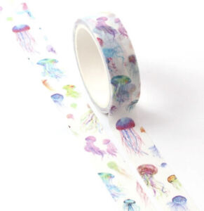 Rainbow Jellyfish Sealife Washi Paper Tape Scrapbooking