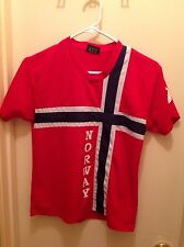 NORWAY SOCCER FUTBOL JERSEY YOUTH BOYS SIZE 12/14 NORD SUVENIR FLAG DESIGN
