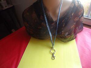 Blue Iridescent Crystal Lanyard - ID Badge Card Keys Holder Necklace Key-chain