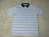 Footjoy Golf Polo Shirt Adult Extra Large White Blue Striped Dri Fit Rugby Mens