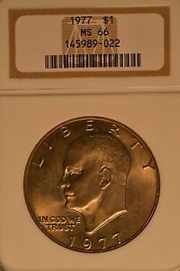 1977 $1 Eisenhower Dollar NGC MS66