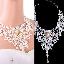 Gothic Victorian White Lace Choker Necklace Metal Cameo Jewel Steampunk Cosplay
