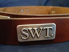 Men's Brown Genuine Leather Belt with Southwest Texas University SWT Conchos 38