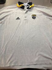 Vintage Adidas Columbus Crew Polo Shirt Mens XL gray Free Shipping