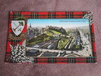 1930s Scottish Tartan border postcard - Clan MacGregor - Edinburgh scene