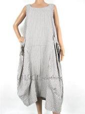 Linen Round Neck Striped Dresses for Women