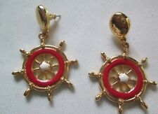 Earrings/Surgical Steel Posts(Gold-Tone/Red)1994* Nib Avon Ship To Shore Wheel