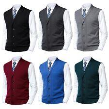 Mens Knit Shawl Collar Cardigan Sleeveless Jumper Button Cardi Sweater Vest