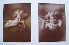"Vintage Cupid Awake & Asleep Sepia Prints Taber Prang Art Company 3.75"" x 5.25"""