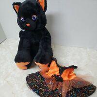 Build a Bear Lucky Kitty Black Cat Plush Stuffed Animal Toy Halloween w/ Dress