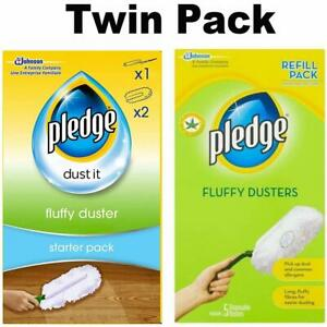 Pledge Fluffy Dusters Starter Kit Dry Dusting Cleaning Cloth Pack or REFILL UK