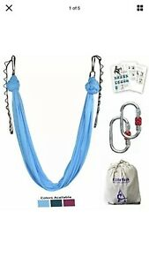 F.Life Aerial Yoga Hammock kit Include Daisy ChainCarabiner and Pose Guide Green
