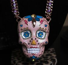 ♡ Betsey Johnson Glam Sugar Critter Huge Pink Sugar Skull Statement Necklace $95
