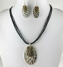 Chic Two Tone Hammered Silver Multi-Cord Necklace and Earrings Set