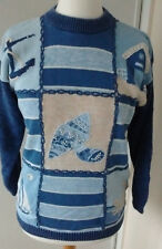 Vintage Tulchan heavy cotton knit embroidered jumper size small (10-12)
