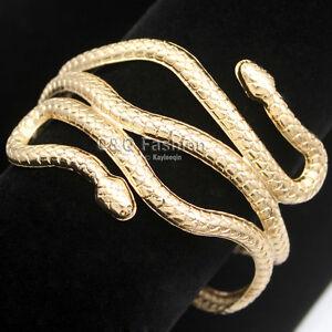Egypt Cleopatra Gold Swirl Snake Arm Cuff Armlet Armband Bangle Bracelet Cuff H6