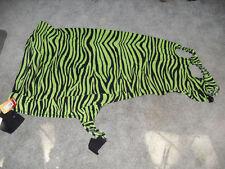 New Neon Green Zebra Lycra Mane Stay Hood W/ Zipper, Horse Sz X-Large, Tough 1