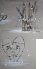 Très beau coupon TISSU MONTAGNE : skis - raquettes (Thévenon)