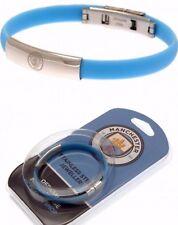 Manchester City FC Edelstahl Wappen Armband farbiger Silikon-Armband
