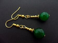 A PAIR OF GREEN JADE GOLD   PLATED DROP DANGLY  EARRINGS. NEW.