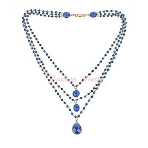 NEW! 93 CT SAPPHIRE QUARTZ TRIPLE STRAND BEADED NECKLACE IN 14K GOLD OVER SILVER