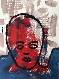 Hasworld original Abstract Expressionist Signed,Street Pop,contemporary Red Soul