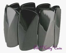 Dramatic Wavy Bars or Plates Polished Black Tone Wide Geometric Stretch Bracelet