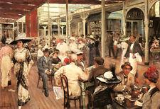 "Mar del Plata, 1912 by Eugenio Alvarez Dumont, 22 1/2"" x 32 3/4"", outdoor cafe"