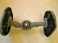 "STAR WARS CROCHET TIE FIGHTER SHIP 10"" LONG HAND MADE"