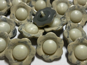 Marbled Cream/Grey Flower/Floral Pearl Center Poly Button 13mm 15mm 18mm 25mm