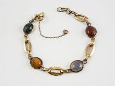 Fine Genuine Carved Scarab Bracelet, Egyptian Revival, Bal Ron,12K G.F.