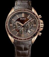 *NEU* Hugo Boss Herren Uhr 1513093 Driver Sport Rose Braun Leder Armbanduhr OVP