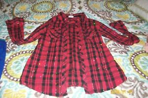 GIRLS  BLOUSE JUSTICE SIZE 12 LONG SLEEVES RED PLAID