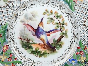 Old Carl Schumann Reticulated Porcelain Plate - Birds Of Paradise - Dresden PC