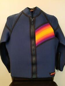 BARE Fitz Wright Vintage Iconic 80s Women Sz L Wetsuit Surf Top Jacket Scuba