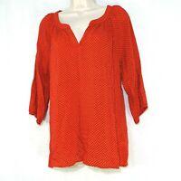 Old Navy Tunic Top Shirt Women Size S Orange Brown Geometric 3/4 Sleeve