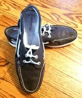 SPERRY Women's Top Sider Angelfish Navy Blue Leather Flats Loafers Boat Shoes 9M