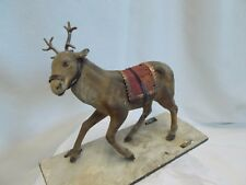 VERY Primitive mid-1800's Composition Reindeer / Deer ~ Pull / Push Toy