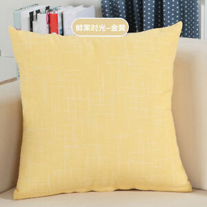 Simple Solid Color Linen Cotton Cushion Cover Office Sofa Home Pillow Case FN227