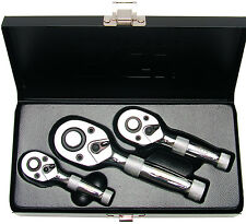 "BGS Germany 3-pieces Stubby Reversible Ratchet Set 1/4""drive 3/8""drive 1/2""drive"