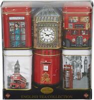 English Breakfast - Afternoon -London Tea Loose Leaf Tea Gift Set Six Mini Tin